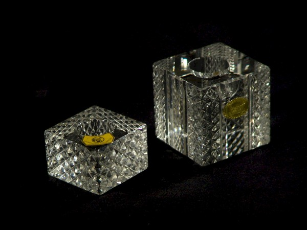 2 Stück Bleikristall Kerzenständer Würfel - um 1950 - Jlse und Possell