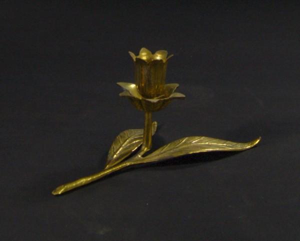Kerzenständer um 1950 - Blume / Rose / Blätter - Metall - Gold
