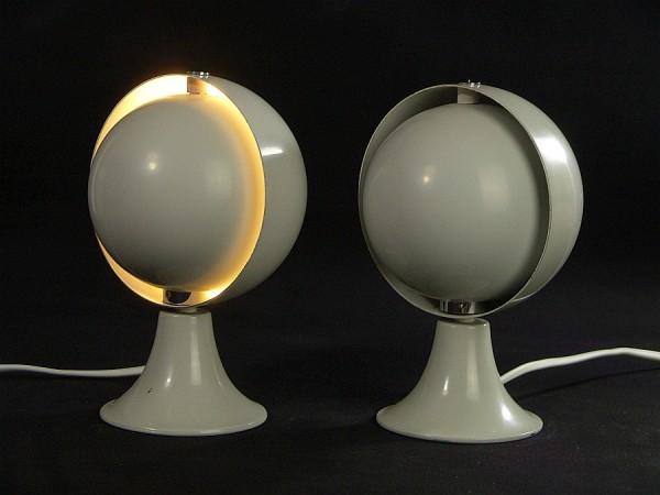 60er Jahre Hustadt Lampen Paar - Moon - Eclipse - Grau - NEU verkabelt