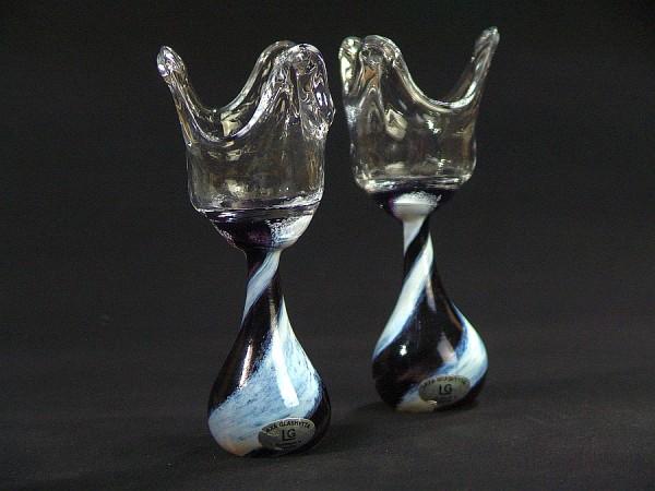 Kerzenständer Paar - Schweden - Glashütte LAXA - Glas - Handarbeit