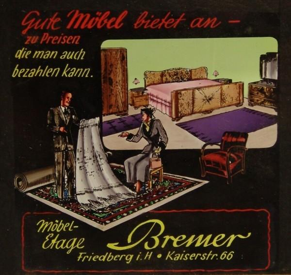 Fotoplatte - Positiv - Werbung - Möbel Etage Bremer - 40er / 50er Jahre-Copy-Copy