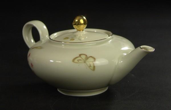 Mitterteich Porzellan Teekanne - Gräser Blumen Schmetterling 50er Jahre
