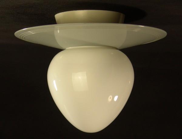 50er Jahre Deckenlampe - Opal Glasschirm - grau