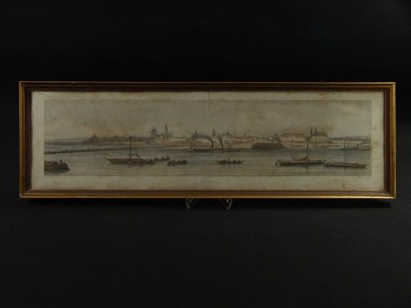 Antiker colorierter Stich - Panorama - MAYENCE / Mainz am Rhein