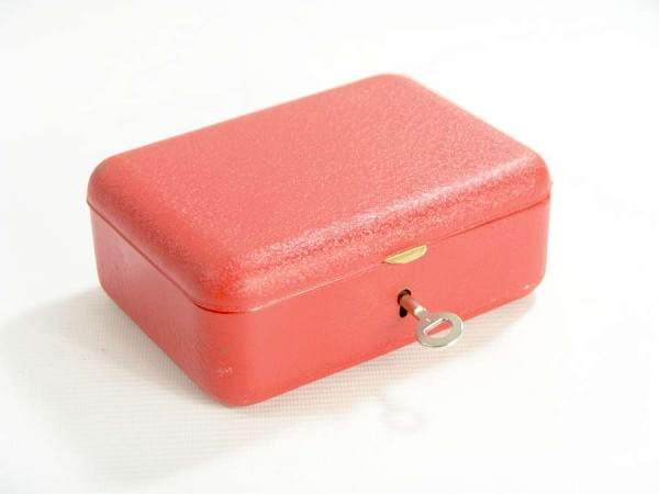 Kleine Metall Geldkassette mit Einsatz - 70er Jahre - Orange