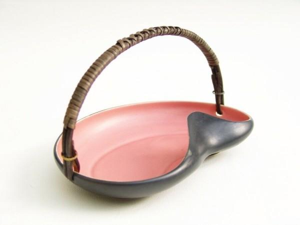 50er Jahre Keramik Schale - Anbietschale - rosa / schwarz