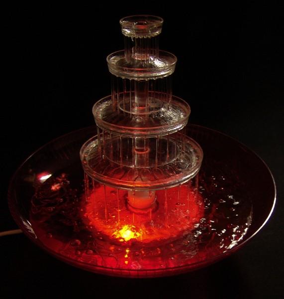 70er Jahre Zimmerspringbrunnen - Orange - beleuchtet