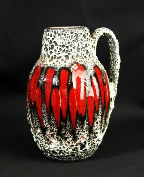Lava Keramik Vase - 60er Jahre - rot / weiß