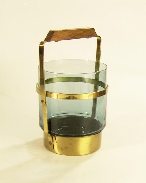 Eiswürfelbehälter - Eiseimer - Glas blau - Messing / Teak - 60er Jahre