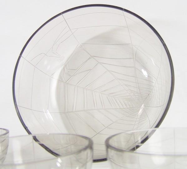 70er Jahre Glas Schüssel und 4 Schälchen Dekor : Spinnennetz + Spinne