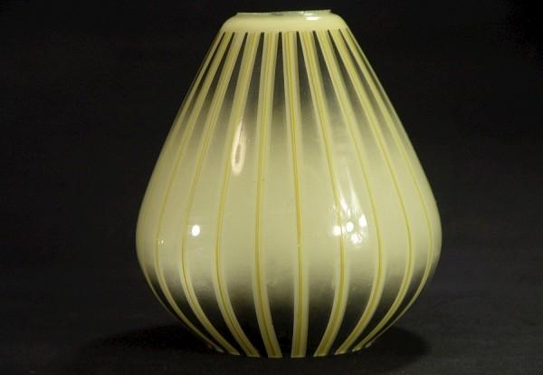 50er Jahre Glas Lampenschirm - gelb/schwarz/creme