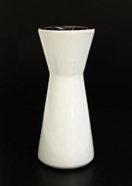 50er Jahre Keramik Vase - Keulenform - Uni weiß - 16 cm