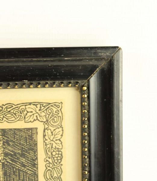 Antiker Bilderrahmen - schwarz - Perlenrand gold - 1922
