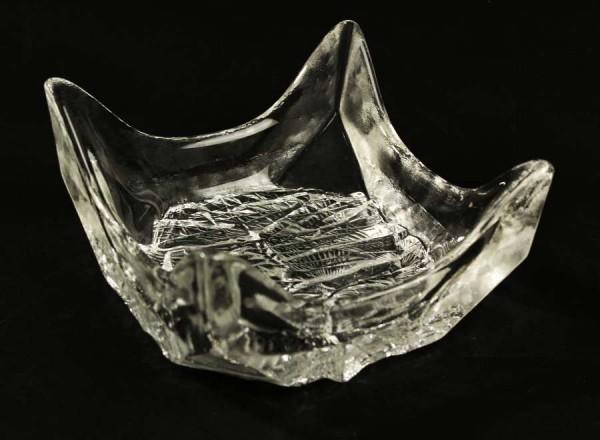 Schwere Eisglas Schüssel / Schale um 1970