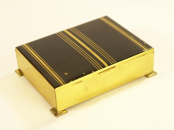 Kleine Messing-Schatulle mit Holzeinsatz - Art Deco