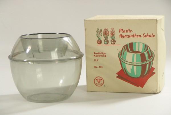 50er Jahre Hyazinthen Schale / Vase - Keil Plastic - grau - OVP