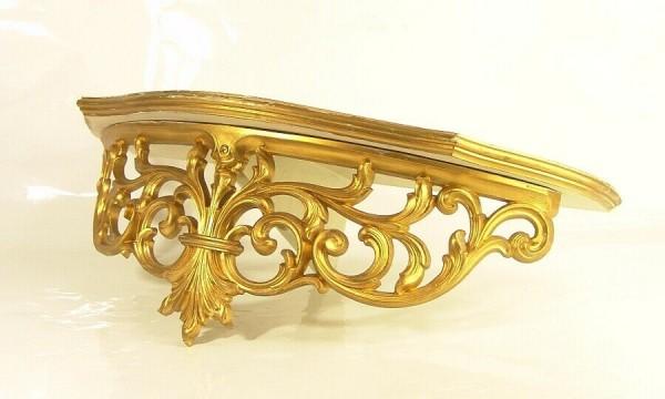 Wandkonsole um 1960 - Barock Stil - Gold - Syroco U.S.A