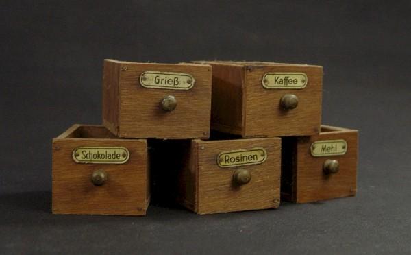 5 alte kleine Schubladen - Kaufladen - Puppenstube