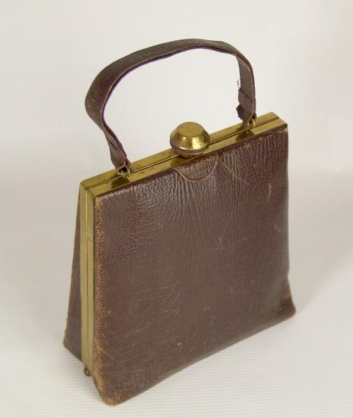Antike Handtasche - Art Deco ~1930 - Leder/Messing