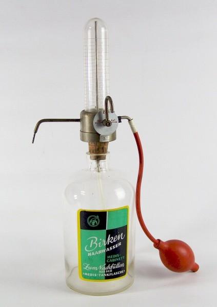 Frisöreinrichtung um 1950 - Birken Haarwasser - Medis Tankflasche