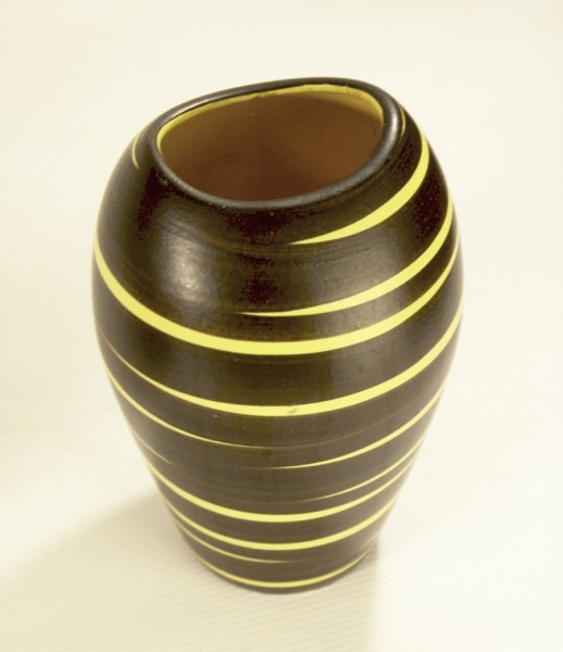 50er Jahre Keramik Vase - gelb/schwarz