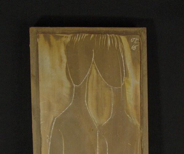 60er Jahre Wandbild - Wandtafel - Gips / Holz 1965 Signiert