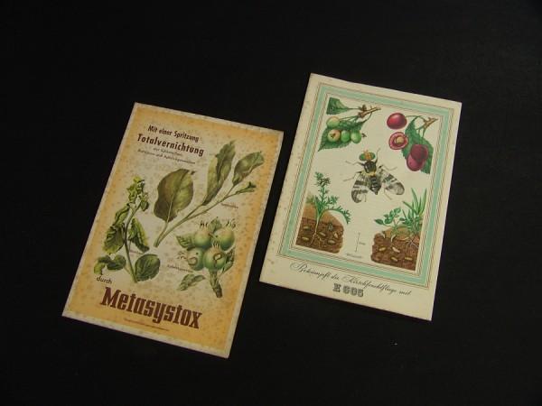 2 x Bayer Pflanzenschutz Leverkusen Werbung ~1950 - E605 + Metasystox