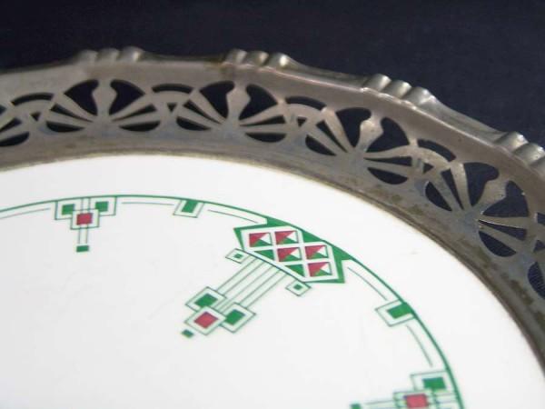 Jugendstil Keramik Schale mit Metalleinfassung