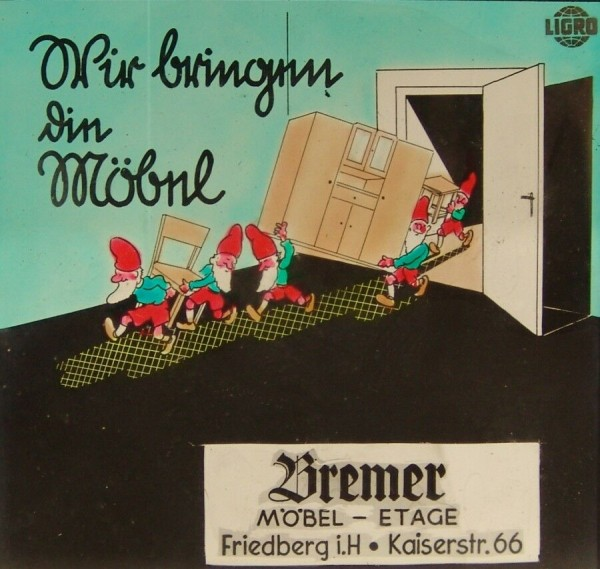 Fotoplatte - Positiv - Werbung - Möbel Etage Bremer - 40er / 50er Jahre-Copy