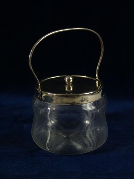 Glas Deckeldose mit Henkel um 1930
