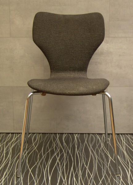 60er Jahre Stuhl - Stahlrohr - Teak mit Textilbezug