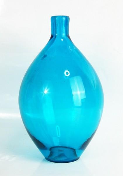 60er Jahre Design Glas Vase - MAGNOR Norway - blau - 21 cm