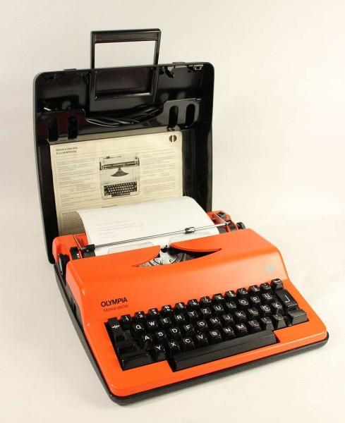 70er Jahre Olympia Monica Electric Schreibmaschine - Orange