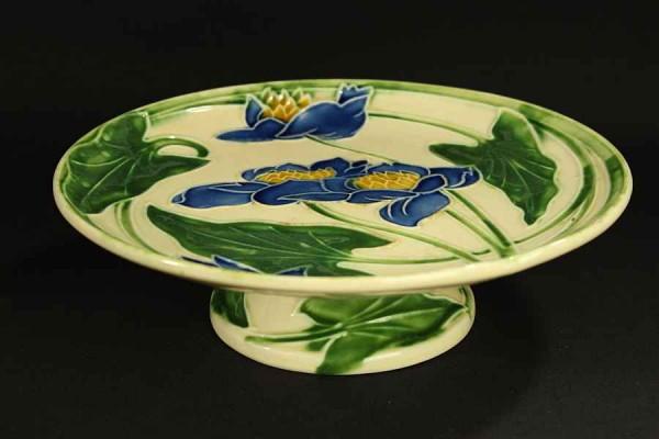 Jugendstil Keramik Fußschale - Seerosen