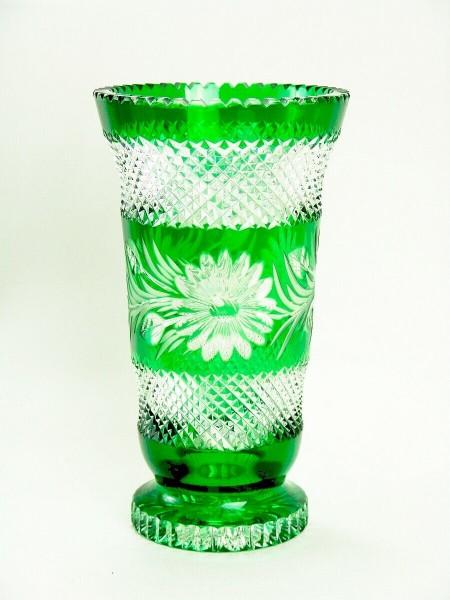 Glasvase mit Zackenrand um 1940 , grün / klar , 25 cm