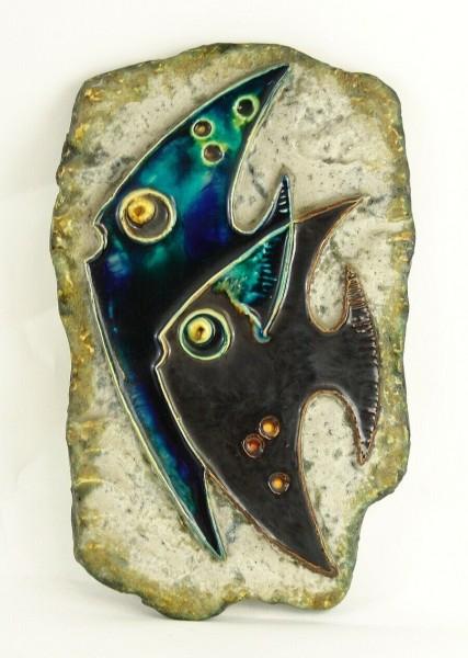 Schäffenacker Keramik Wandtafel - Fische - um 1960