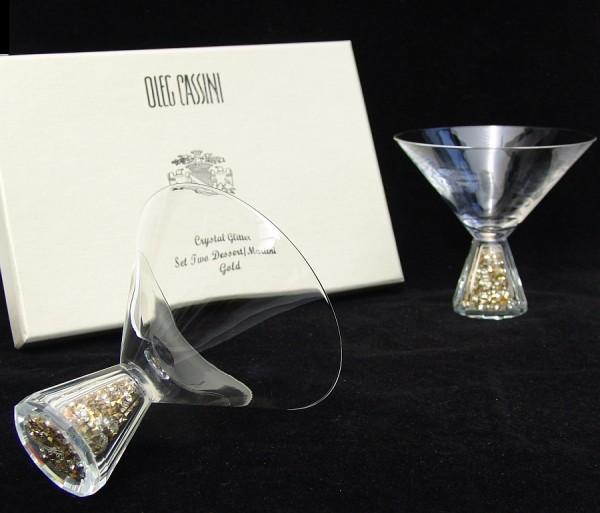 OLEG CASSINI Crystal Glitter gold - 2 Martini / Dessertgläser - NEU+OVP