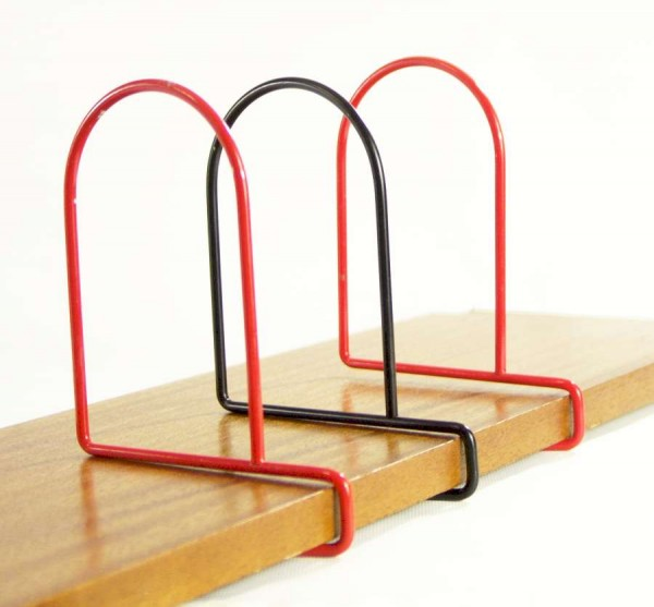 3 String Regal Buchstützen zum Aufstecken - rot / schwarz