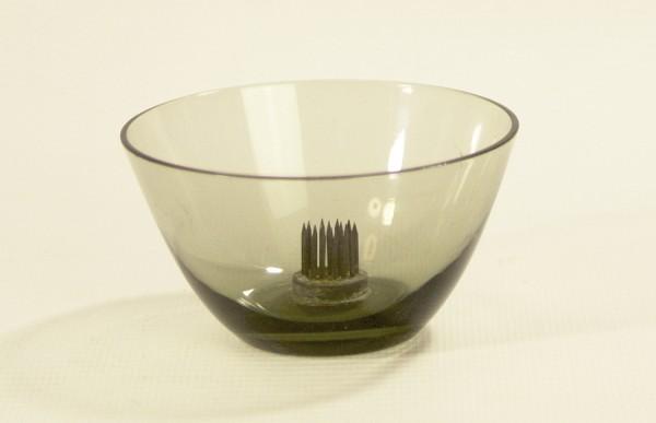 Kleine Turmalingraue Blumensteckschale - 50er Jahre - Glas