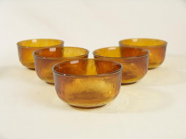 5 x Vintage Pressglas Schalen - Bernstein / Honigfarben - Dessert