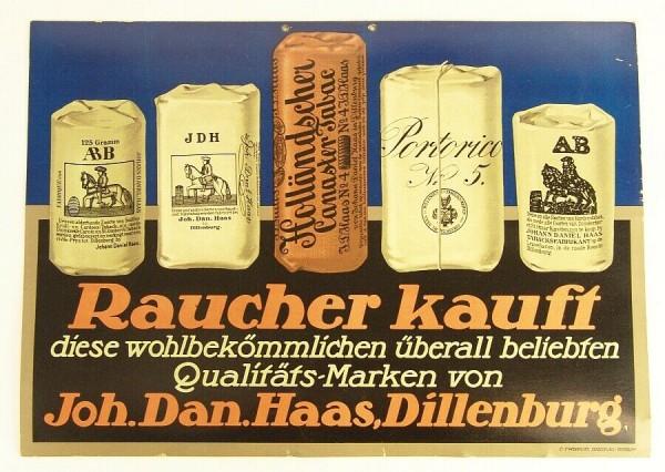 30er Jahre Tabak Werbeplakat - Haas Dillenburg - Wiskott Breslau-Berlin