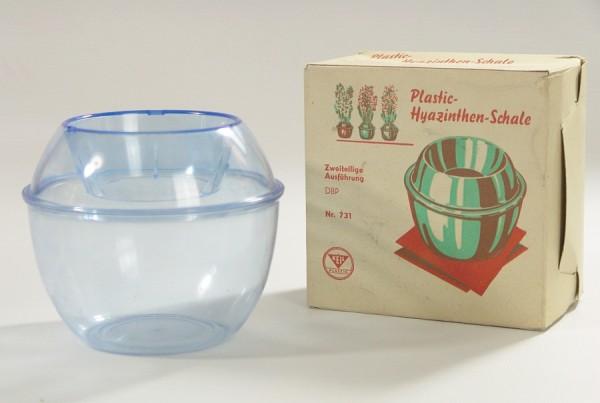 50er Jahre Hyazinthen Schale / Vase - Keil Plastic - blau - OVP