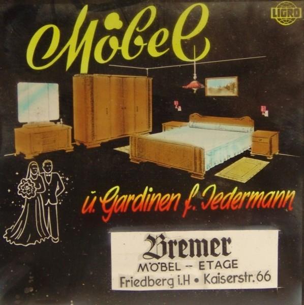 Fotoplatte - Positiv - Werbung - Möbel Etage Bremer - 40er / 50er Jahre