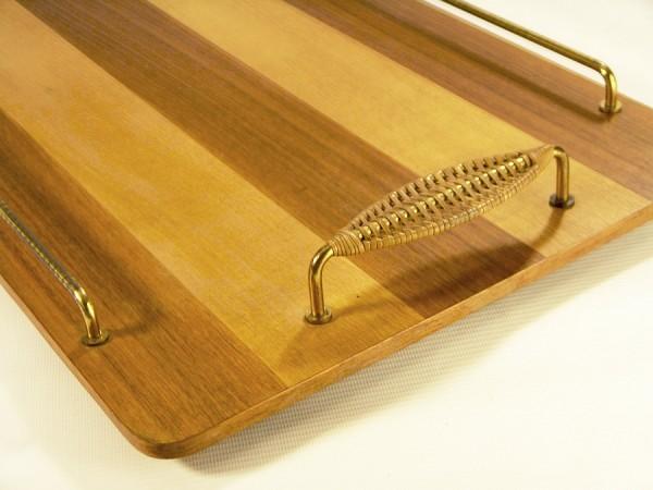 50er Jahre Tablett - Holz - Messing