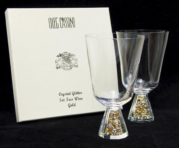 OLEG CASSINI Crystal Glitter Gold - 2 Weingläser - NEU+OVP