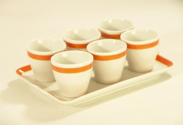 Kleines 70er Jahre Tablett mit 6 Eierbechern - Orange / Weiss