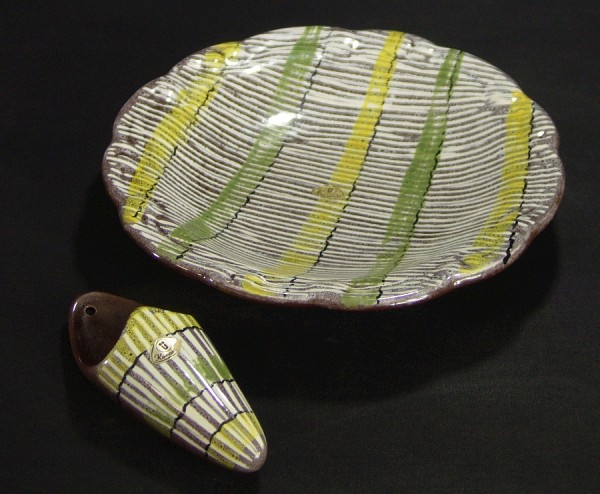 50er Jahre Ü-Keramik / Übelacker Set - Wandvase & Teller/Schale