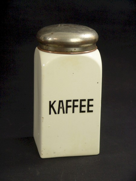Art Deco Keramik Vorratsdose mit Metalldeckel - Kaffee