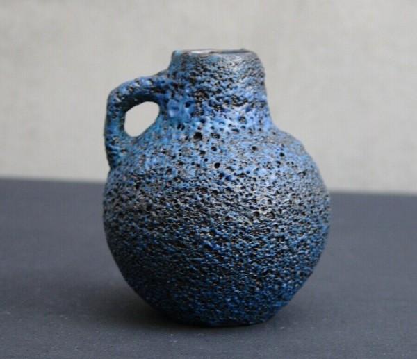 LAVA Keramik Vase um 1960 - blau / schwarz