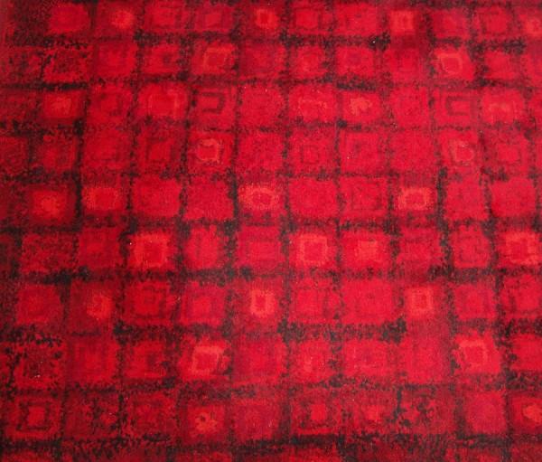 60er Jahre Teppich - Bayer Dralon - Rot/schwarz - 285 x 200 cm